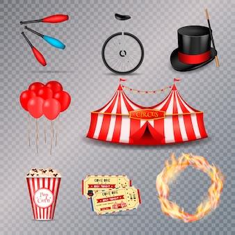 Conjunto de elementos esenciales de circo