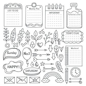 Conjunto de elementos esenciales de diario de bala dibujados