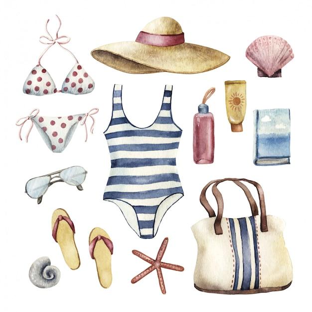 Conjunto de elementos esenciales de vacaciones en la playa, ilustración acuarela