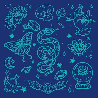 Conjunto de elementos esotéricos dibujados a mano.