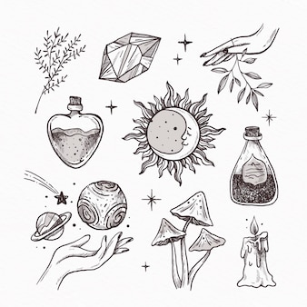 Conjunto de elementos esotéricos dibujados