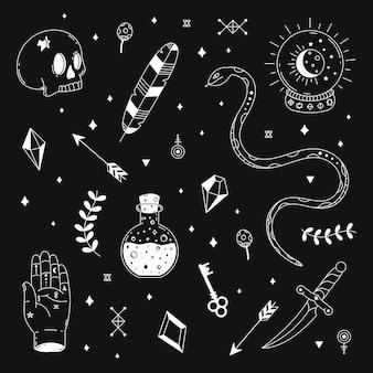 Conjunto de elementos esotéricos ilustrados.
