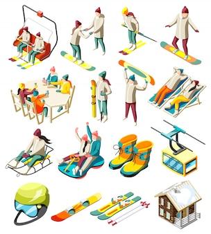 Conjunto de elementos de la estación de esquí de iconos isométricos con esquiadores y snowboarders con equipamiento deportivo aislado