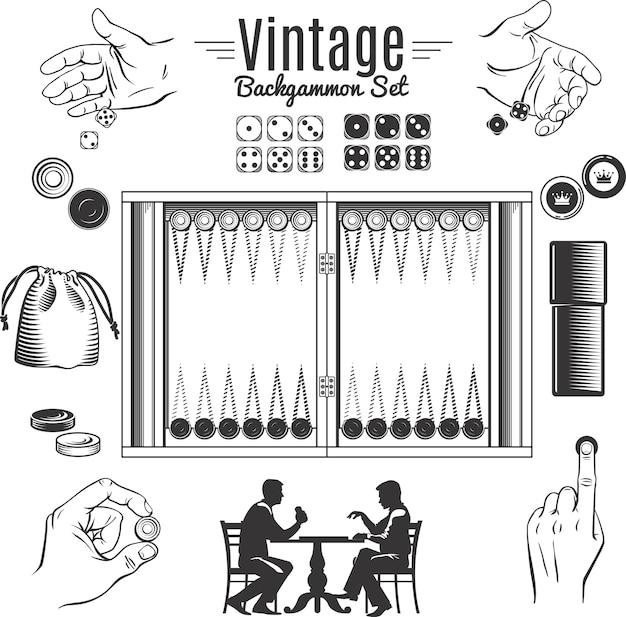 Conjunto de elementos de estilo vintage de backgammon