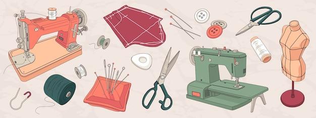 Conjunto de elementos de estudio de costura