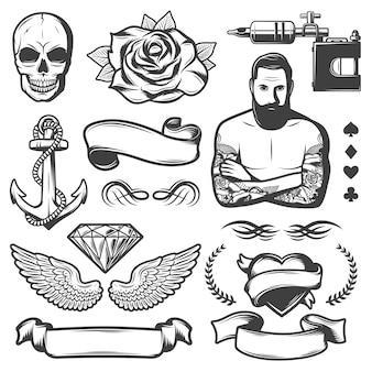 Conjunto de elementos de estudio de tatuaje de bosquejo vintage