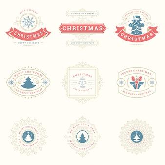 Conjunto de elementos de etiquetas e insignias de navidad