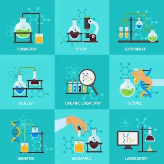 Conjunto de elementos experimentales químicos