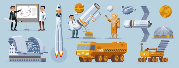 Conjunto de elementos de exploración espacial.