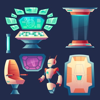 Conjunto de elementos extraterrestres de la nave espacial. panel de control con pantallas para cabina en cohete.