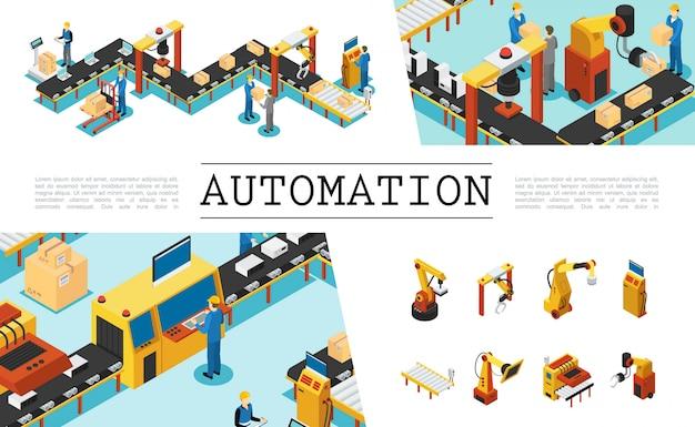 Conjunto de elementos de fábrica automatizados isométricos con operadores industriales y líneas de envasado, operadores, brazos robóticos mecánicos