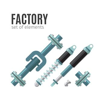 Conjunto de elementos de fábrica.