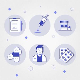 Conjunto de elementos farmacéuticos ilustrados.