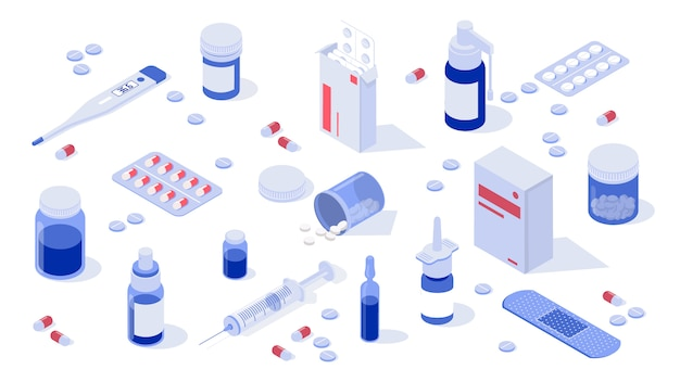 Conjunto de elementos de farmacia