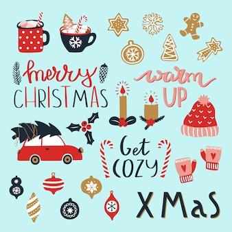 Conjunto de elementos de feliz navidad y feliz año nuevo.