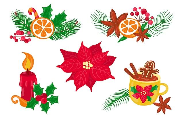 Conjunto de elementos de feliz navidad