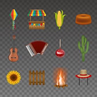 Conjunto de elementos de festa junina.
