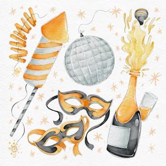 Conjunto de elementos de fiesta de año nuevo de acuarela