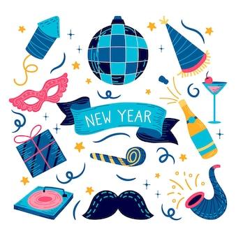 Conjunto de elementos de fiesta de año nuevo dibujado a mano