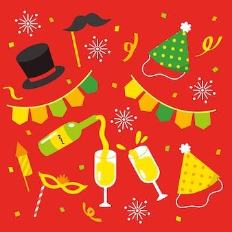 Conjunto de elementos de fiesta de año nuevo dibujados