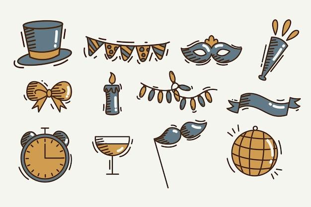 Conjunto de elementos de fiesta de año nuevo vintage