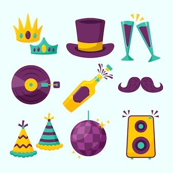 Conjunto de elementos de fiesta de año nuevo