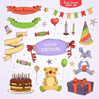 Conjunto de elementos de fiesta de cumpleaños de vector: caja de regalo de pastel oso de peluche