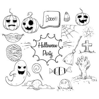 Conjunto de elementos de fiesta de halloween con estilo dibujado a mano o incompleto