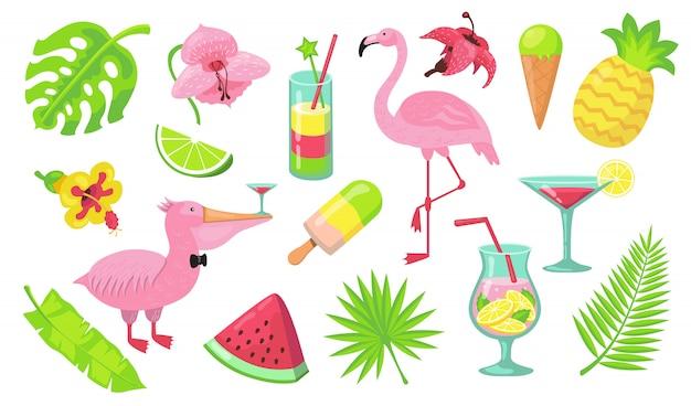 Conjunto de elementos de fiesta de playa de verano