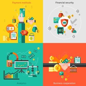 Conjunto de elementos de finanzas plana