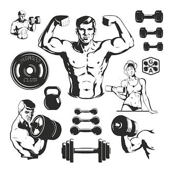Conjunto de elementos de fitness de gimnasio