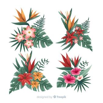 Conjunto de elementos de flor tropical