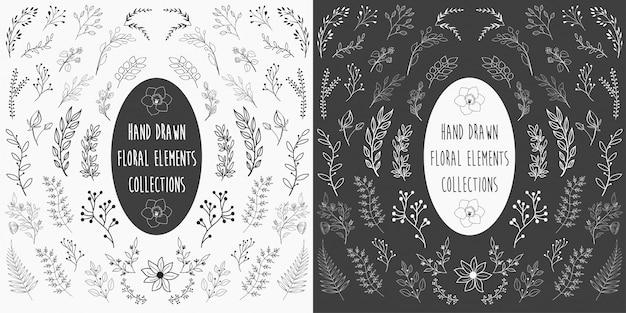Conjunto de elementos florales dibujados a mano vector
