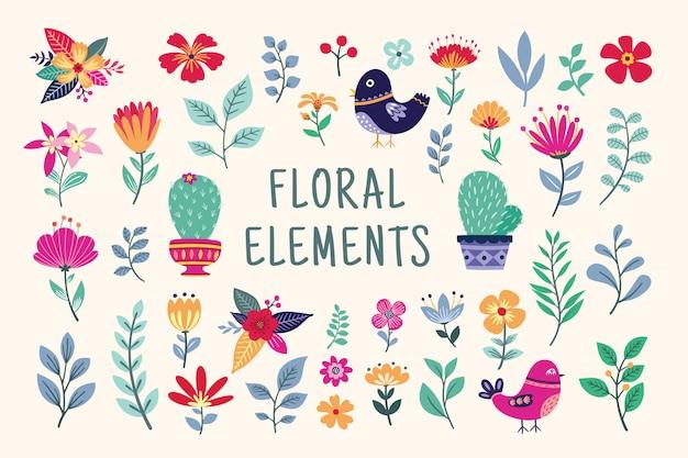 Conjunto de elementos florales hermosos