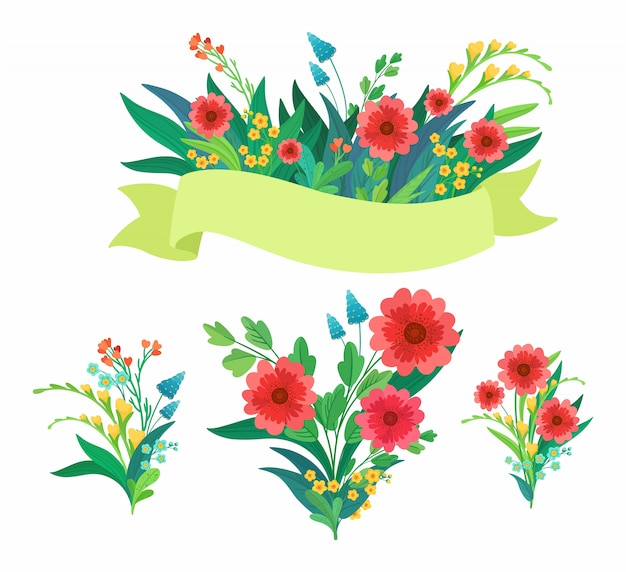 Conjunto de elementos de flores para el día de la mujer o invitación de la boda.