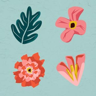 Conjunto de elementos de flores y hojas rosadas sobre un fondo verde