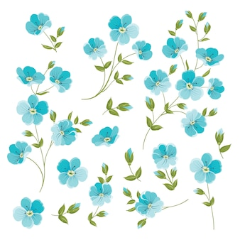 Conjunto de elementos de flores de lino