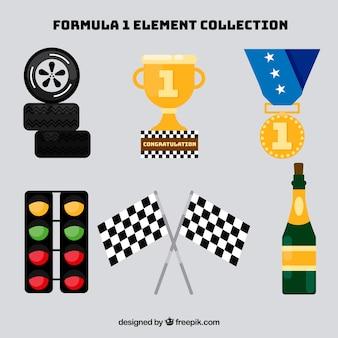 Conjunto de elementos de formula 1 en estilo flat