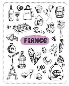 Conjunto de elementos franceses doodle