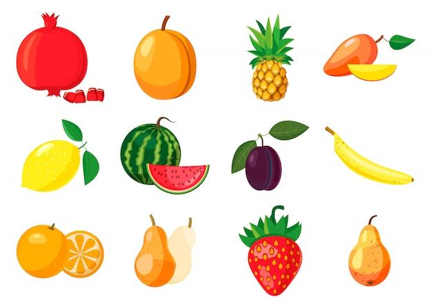Conjunto de elementos de frutas. conjunto de dibujos animados de frutas