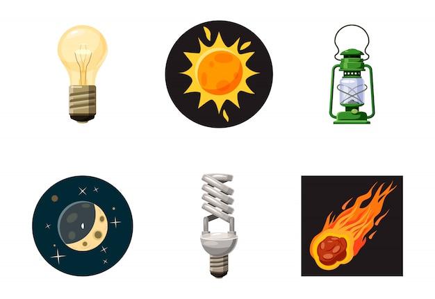 Conjunto de elementos de fuente de luz. conjunto de dibujos animados de fuente de luz