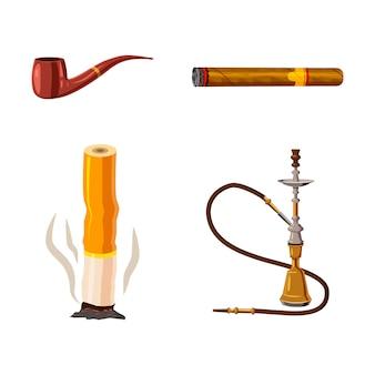 Conjunto de elementos de fumar. conjunto de dibujos animados de fumar