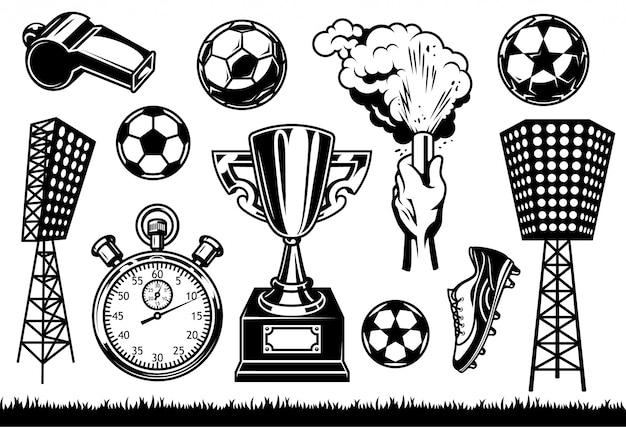 Conjunto de elementos de fútbol