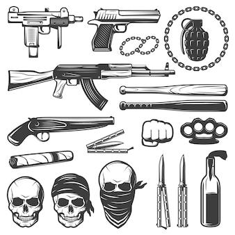 Conjunto de elementos de gángster monocromo