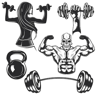 Conjunto de elementos de gimnasio para crear sus propias insignias, logotipos, etiquetas, carteles, etc.