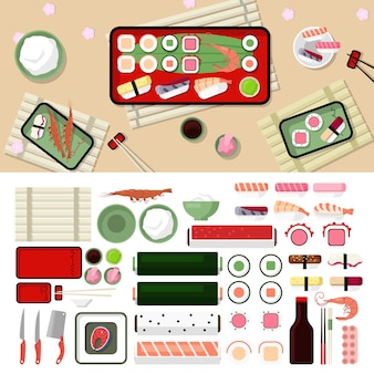 Conjunto de elementos gráficos de diseño de estilo plano de restaurante de sushi. sashimi, sushi, langostinos, rollos, pescado, levantamiento, palillos chinos, platos, salsa de soja, ilustraciones de iconos wasabi.