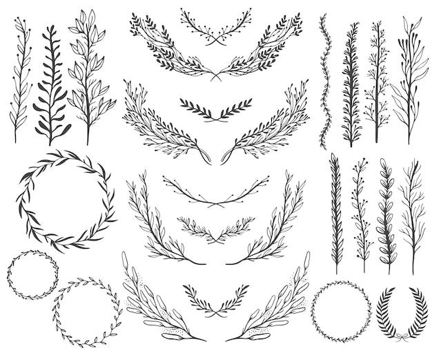 Conjunto de elementos gráficos florales de boda, diseño de invitación.