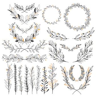 Conjunto de elementos gráficos florales de boda