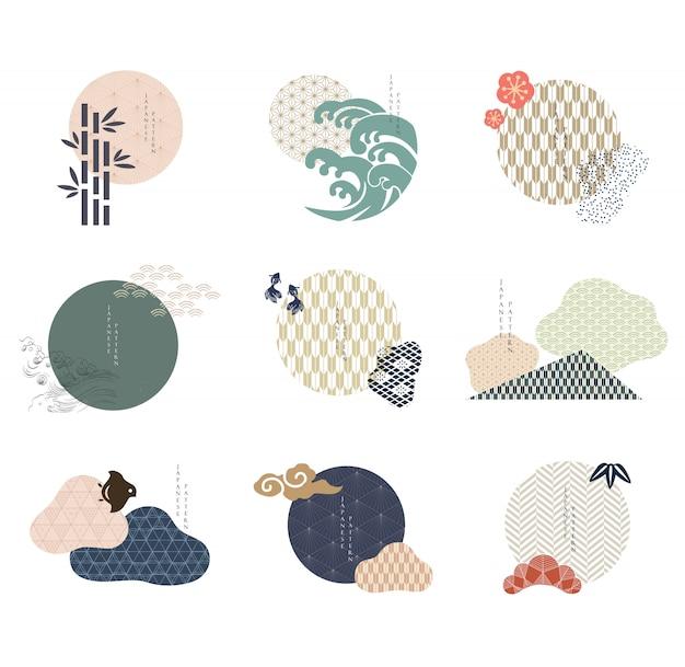 Conjunto de elementos gráficos modernos geométricos. iconos asiáticos con patrón japonés.