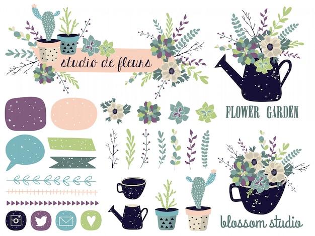Conjunto de elementos gráficos de primavera con motivos florales.